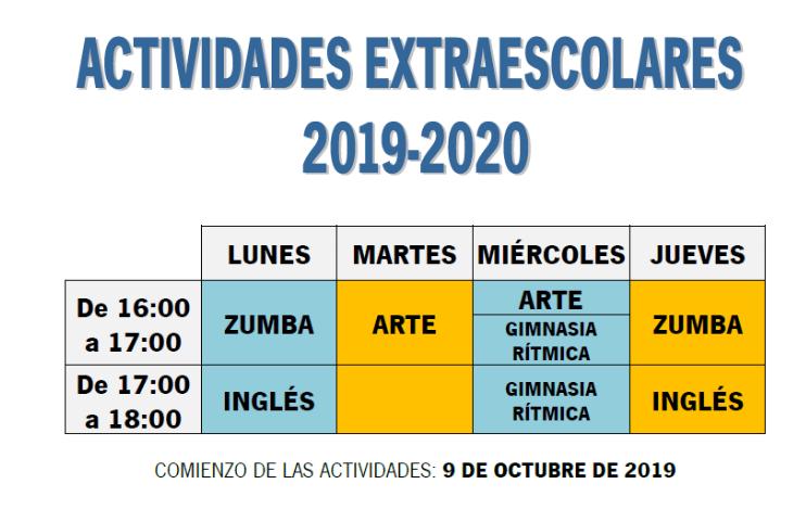 COMIENZO DE LAS ACTIVIDADES EXTRAESCOLARES 2019-2020