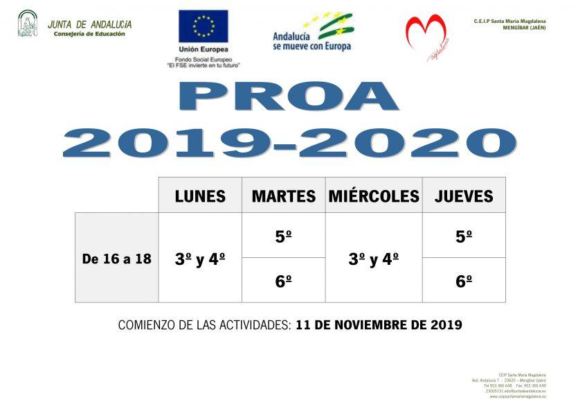 COMIENZO PROA 2019-2020