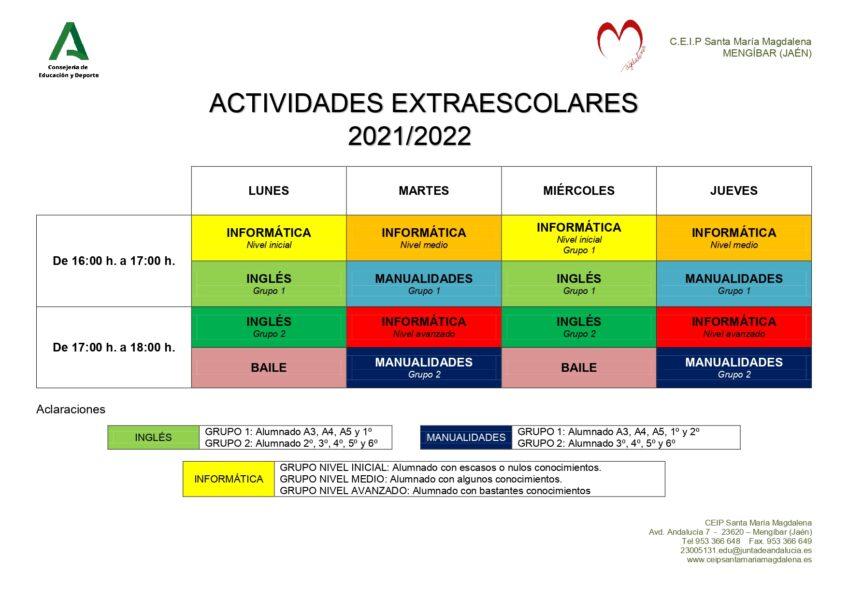 INICIO ACTIVIDADES EXTRAESCOLARES 2021/2022